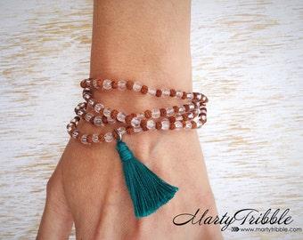 Wrap Mala, Wrist Mala, Mala Bead Bracelet, Rudraksha Bracelet, Rudraksha Mala, Mala Bracelet, Prayer Beads, Mala Necklace, Gemstone Mala