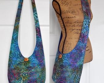 MADE TO ORDER Hobo Bag Cross Body Bag Hippie Purse Sling Bag Hobo Purse Boho Bag Bohemian Purse Batik Hobo Bag Slouchy Bag Indigo Batik Bag