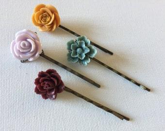 Hair Pins, Wedding Hair, Flower Bobby Bobbi Pins