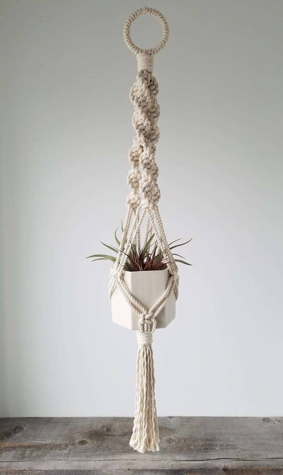 Hanging Planter, Includes both Hexagon Porcelain Pot and Macrame Cotton Hanger