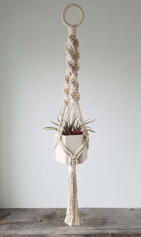Hanging Planter, Includes both Hexagon Porcelain Pot and Macrame Cotton Hanger