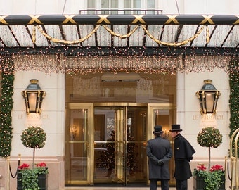 Paris Photograph, Christmas at the Hotel Bristol, Large Wall Art, Gallery Wall Art, Twinkle Lights, Travel Photograph