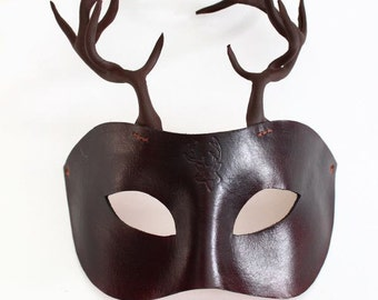 Brown Black Leather Stag Mask Antlers, Handmade UK