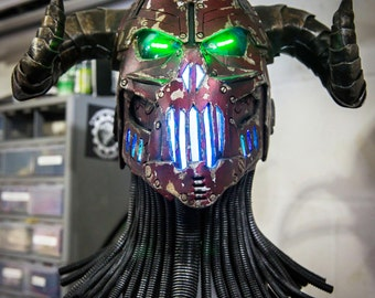 The Necrotron - Full RGB color changeable LED devil helmet - Scifi unique one of a kind