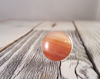 Gradation - Coral Pink Ombre Banded Natural Agate Dome Statement Ring