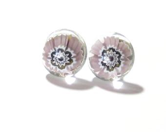 Murano Glass Post Earrings,  Millefiori Sterling Silver Earrings, Pale Purple Button Glass Earrings, Stud Earrings, Murano Glass Earrings