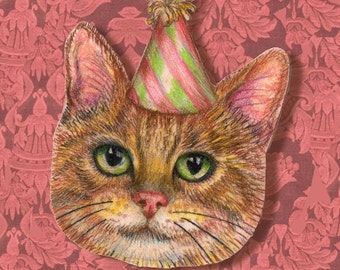 Pink Cat pocket mirror. My illustration of a cute tabby kitten in a party hat, on a small, round, pink handbag mirror