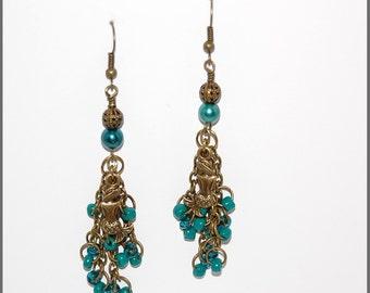 Mermaids swimming among the seaweed earrings-mermaids teal pearl beaded earrings-bronze ear wires-ocean beach theme-teen women jewelry-SRAJD