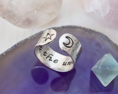 Trust the universe ring. Inspirational ring. Hand stamped quote ring. Star and crescent moon ring. Secret message ring. Yoga gift. RTS RS003