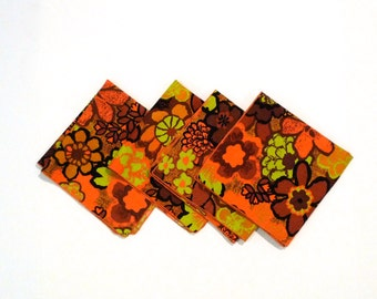 Mod Flowers napkin (4) Vintage Orange Brown and Lime Green Floral Cloth Napkins 1970s Napkin Tiki Flower Power Harvest Colors Dayglo Neon