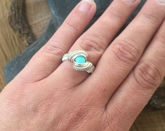 Wire Wrapped Ring, Turquoise Ring, Size 6.5 Turquoise Ring, Sterling Silver Moonstone, Wire Wrap Jewelry, Sterling Turquoise Ring