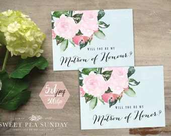 5x7 Will You Be Matron of Honour Card | PRINTABLE DOWNLOAD l Floral Vintage Design | DD002