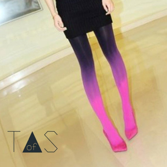 Pink Purple Ombre Leggings / Two Tone Tights / Neon Rave Leggings