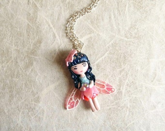 On sale!! 20% discounted! Sakura fairy. Pixie necklace. One of a kind.