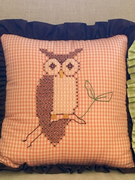 Vintage Owl Pillow with Retro Embroidery Gingham Throw Pillow
