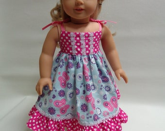 18 inch American Girl Doll Clothes - Sundress- sleeveless dress and slip