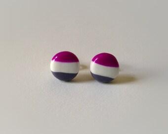 Striped Stud Earrings, Magenta Gray White Striped Studs, Simple stud earrings, everyday earrings, simple earrings, purple white grey studs