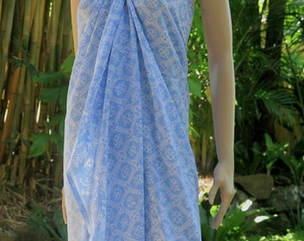Blue Batik Sarong, Swimsuit cover up, Beach Sarong, Pareo