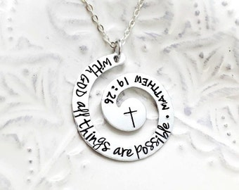 With GOD All Things Are Possible - Matthew 19:26 Aluminum Inspirational Bible Verse Necklace- Hand Stamped Jewelry - Personalized Jewelry