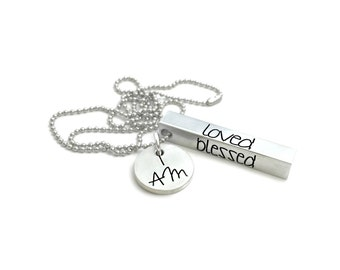 I AM Enough Loved Worthy Blessed Worth It Inspirational Necklace- Hand Stamped Jewelry - Personalized Jewelry - Engraved Jewelry