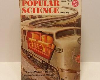 Popular Science Magazine November 1948 - Great Condition - Gas Turbine Locomotive Technology, Tons of Vintage Ads, Man Cave Decor,Garage