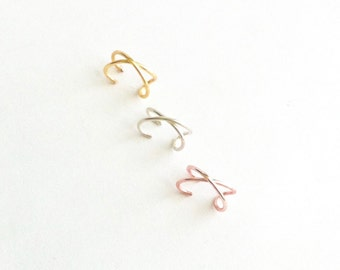 3 Criss Cross Ear Cuffs, Ear Cuff Set, Cartilage Ear Cuffs No Piercing, Fake Cartilage Earrings, Fake Helix Piercing, Faux Ear Cuff Gift