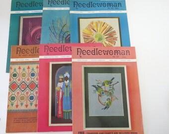 NEEDLEWOMAN with Transfers, 6 Vintage 1970s Needlework and Crafts Magazine, England, Needlecraft