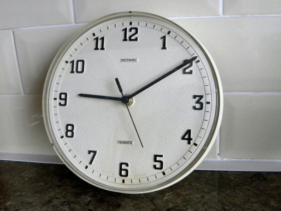 Metamec Kitchen Wall Clock Battery Operated White Clock
