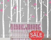 Birch Tree Wall Decals | Eight Birch Trees with Flying Birds | Baby Nursery, Children's Room Interior Designs | Easy Application 022