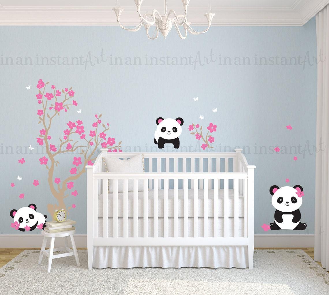 Pandas And Cherry Blossom Tree Panda Decal Panda Vinyl Wall