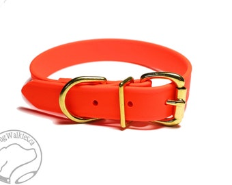"Biothane Dog Collar / Blaze Neon Orange 1"" (25mm) Wide / Leather Look and Feel / Adjustable Custom Size / Stainless or Brass Hardware"