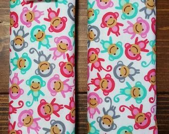Reversible Car Seat Strap Covers Ann Kelle Mini Urban Zoologie Sweet Monkeys w/Opal Dimple Dot Minky Cuddle Baby Girl Accessories ITEM #057