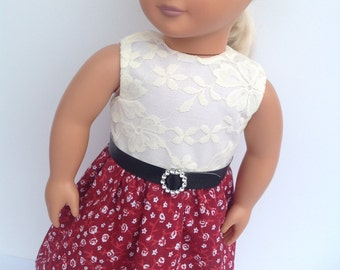 White lace dress, 18 inch doll dress, summer dress with belt