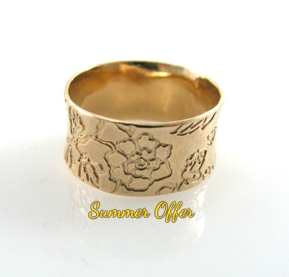 wedding ring gold wedding ring flowers gold by kaijewelry585