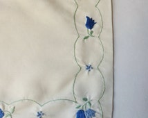 Pale Yellow Embroidered Baby Pillow Sham, Baby's Pillow Cover with Blue Tulips