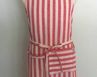 Red and White Stripe Chef Apron with Pocket and Towel Loop in Yarn Dyed Linen, Men's Linen Apron, Linen Chef Apron, Adjustable, No Neck Ties