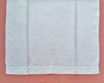 "Antique linen damask towel with ""W"" monogram, monogrammed towel with ""W"" initial, c.1910 show towel, display towel for bedroom or bathroom"