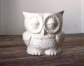 Handmade Planter - Speckled Cream Owl - ceramic owl indoor or outdoor planter.  Vintage design owl, handmade from scratch, ready to ship!