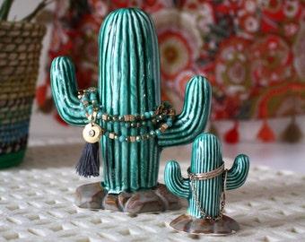 Jewelry Holder - Saguaro Cactus Bracelet Tree - Handmade From Vintage Mold - Jewelry Storage for Necklaces and Bracelets - Cactus Decor