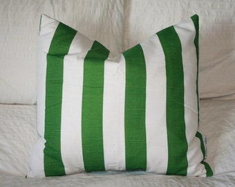 "20"" x 20"" Square Pillow Cover - Green and White Stripes, Cushion Cover, Throw Pillow, Premier Prints, Baby, Nursery, Home Decor"