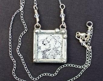 Necklace, Lace Pendant, Soldered Jewelry, Ecru Vintage Lace
