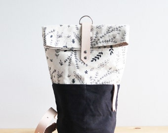 Natural Floral Sling Backpack - Organic Cotton and Natural Leather Strap