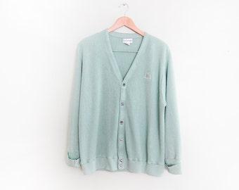 vintage cardigan / grandpa cardigan / oversize / 1990s seafoam green Izod cardigan L
