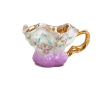 Antique RS Prussia Miniature Teacup Lavender Tea Cup Heavy Gold Floral Design Fluted Edge Reinhold Schlegelmilch Hand Painted