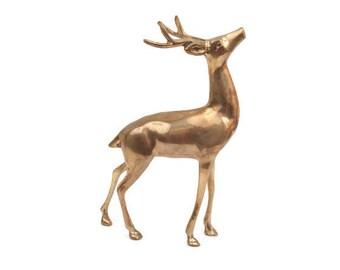 Vintage Brass Deer Statue Deer Buck Figurine Brass Paperweight Whitetail Deer Hunter Lodge Cabin Decor Holiday Decoration