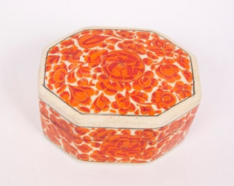 Vintage Paper Mache Trinket Box Hand Made Kashmir India Lacquered Red Flowers