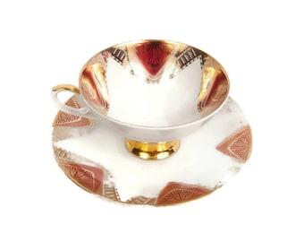 Antique Mitterteich Bavaria Footed Tea Cup Saucer Gold Pink Teacup German