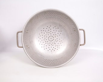 Antique Metal Strainer Large Colander Steamer Double Handle Country Kitchen