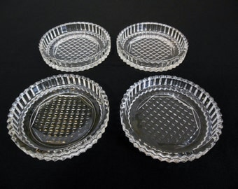 Glass Coasters Set of Four Diamond and Fluted Clear Heavy Glass Drink Coasters