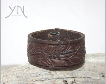 50% off SALE! Leather Leaf Cuff | Women's Leather Bracelet | Brown Leather Cuff | Women's Armband